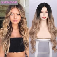 omber brown body wave lace wig 26 long wavy synthetic lace front wig heat resistant fiber lolita cosplay wigs for black women