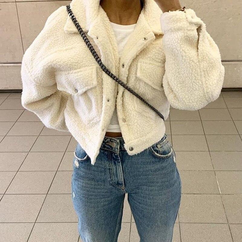 2020 invierno de abrigo de piel cálido mujer Sexy blanco ropa femenina de otoño bolsillo pantalón corto Casual de lana gruesa chaqueta azul