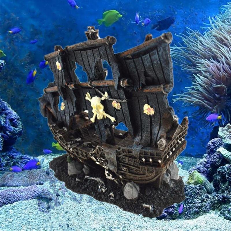 حوض السمك Sunk الاصطناعي ، زخرفة قارب ، حوض للأسماك ، سفينة حطام قديمة ، كهف مخبأ ، للأسماك ، الروبيان ، روك أكواروس ، ديكور