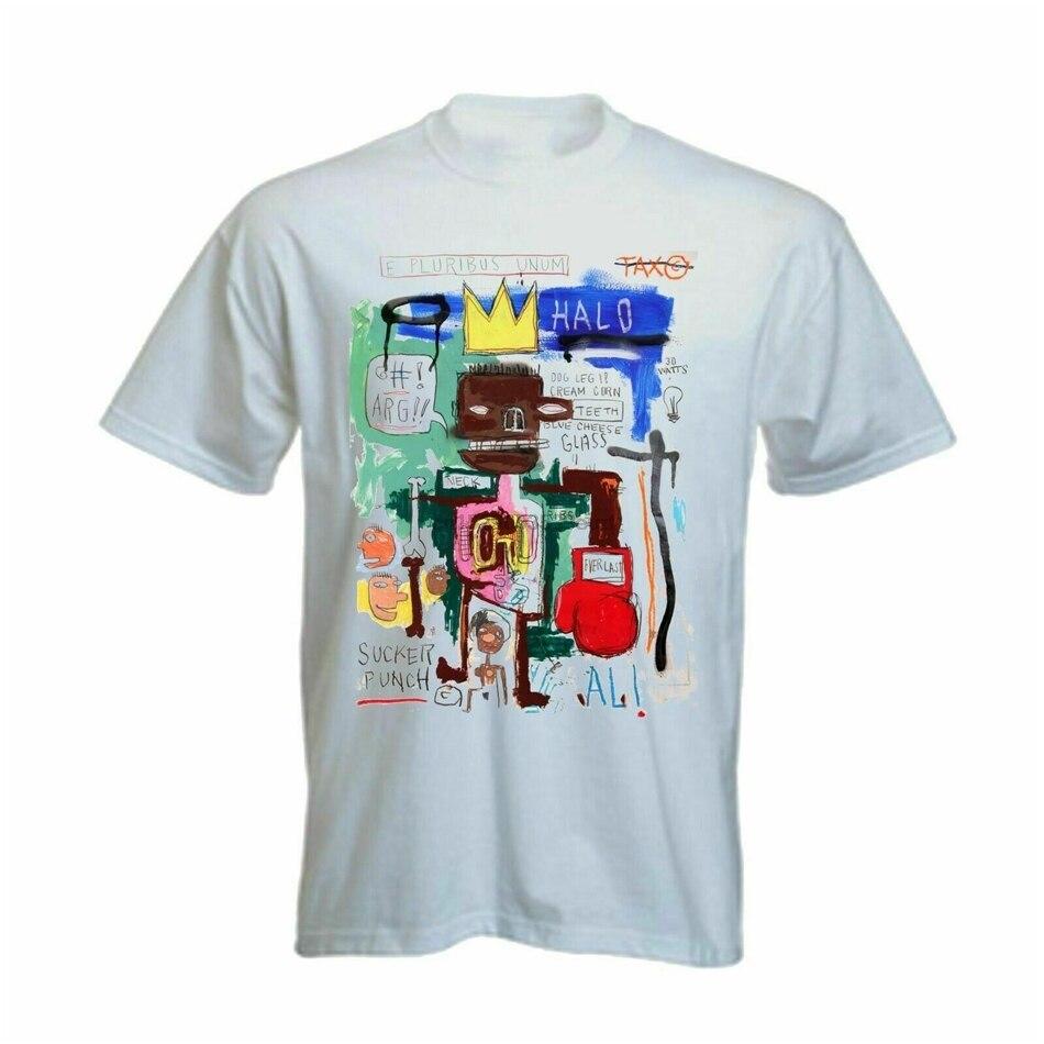 Jean michel basquiat graffiti artista ali vs frazier luta dos homens camisa branca t ginásio camiseta