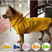 8 sizes dog raincoat available with hood waterproof rain jackets reflective safety strips pet rain coat outdoor breathable