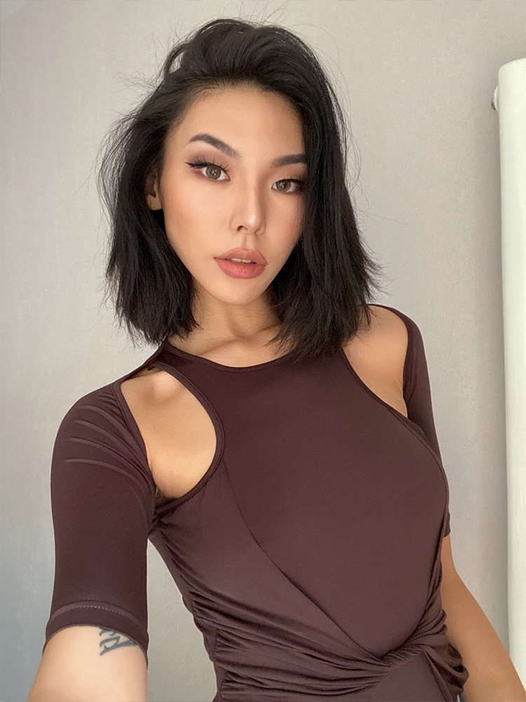 Mulher meia manga oco out jumpsuit playsuit bodysuit s m l