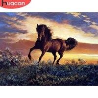 HUACAN     Kit de peinture diamant theme cheval  broderie complete  carre ou rond  mosaique  decor de maison  coucher de soleil  Animal  Art