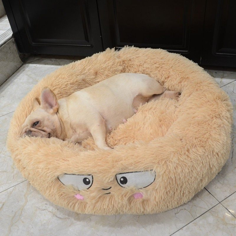 Round Plush Cat Bed House Cat Mat Winter Warm Sleeping Cats Nest Soft Long Plush Dog Basket Pet Cushion Portable Pets Supplies