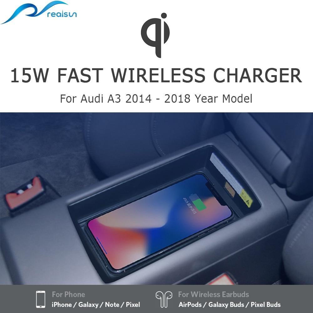 Para Audi A3 2014-2018, nuevo cargador inalámbrico QI de 15W, soporte para teléfono, Panel de carga rápida para iPhone 8, iPhone X y iPhone 11