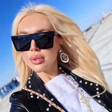 Square Sunglasses Women Oversized Brand Fashion Flat Top Male Black Clear Lens One Piece Men Gafas S