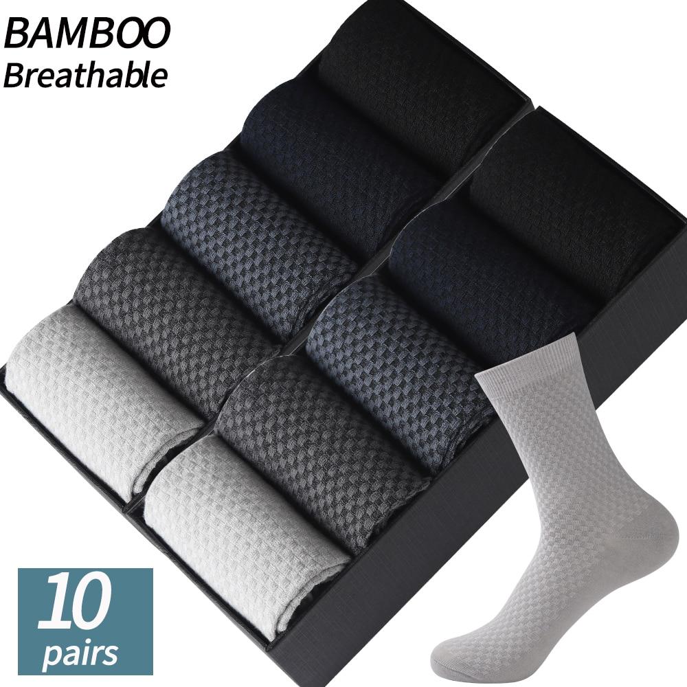 High Quality 10Pair /Lot Men's  Bamboo Fiber Socks Compression Long Socks Men's Black Business Casual Male Sock Large Size 38-45