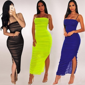 2021gauze skirt perspective sling wrapped chest split sexy tight dress women Free shipping The new listing