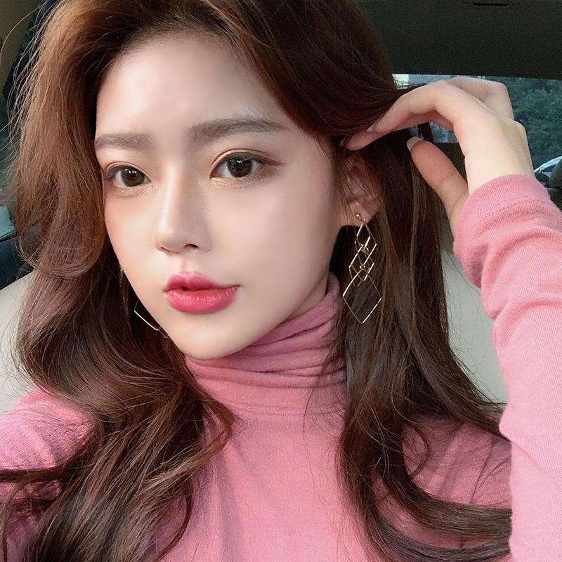 Korean Simple Temperamental Geometric Diamond-Shaped Long Earrings for Women Personalized Cold Style Gold Earrings Online