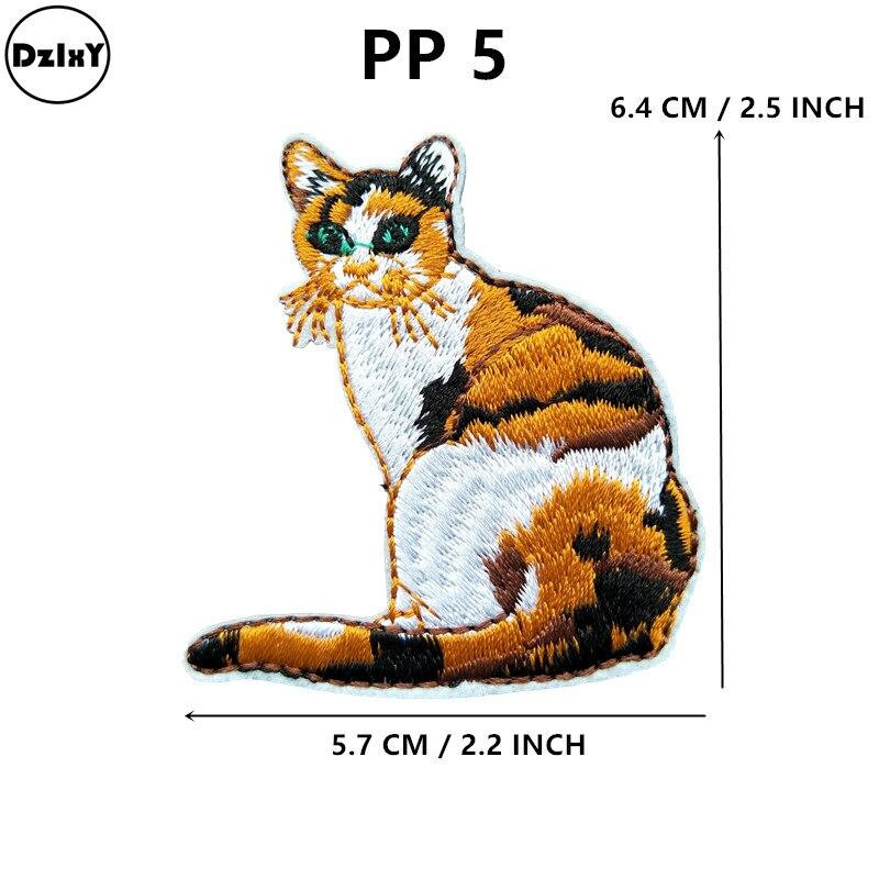 Parches bordados de gatos para ropa DIY rayas flamencos apliques adhesivos para ropa placas para planchar