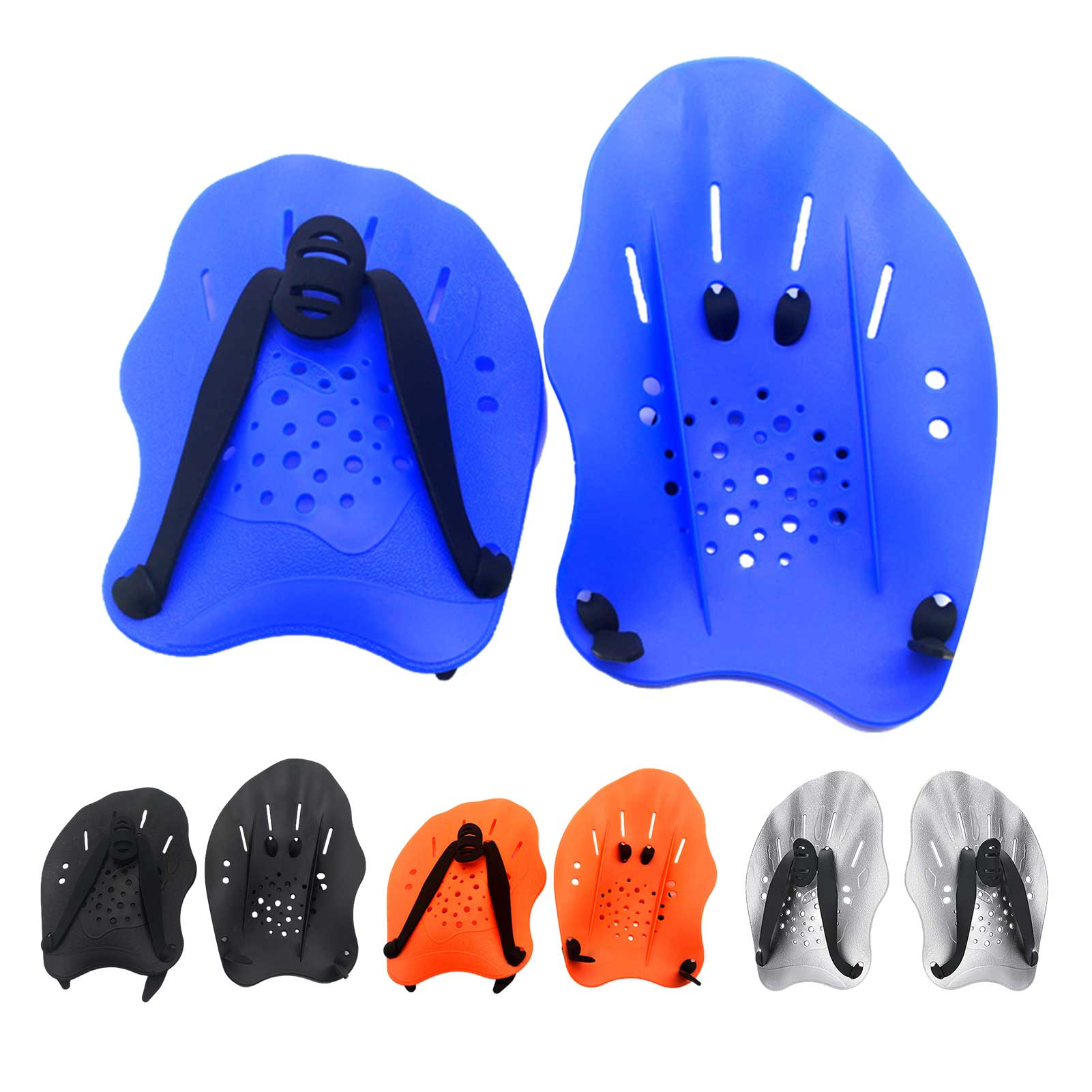 1 Pair Swimming Paddles Training Adjustable Hand Webbed Gloves Pad Fins Flippers For Men Women Kids adults unisex omouboi swimming security pfds black swim paddles hand gloves fins with over head inflatable snorkel rescue vest
