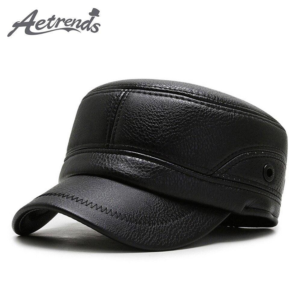 [AETRENDS] gorra de cuero de PU de invierno con orejeras, sombreros militares, Cadet, gorra plana del ejército, Z-10062 al aire libre