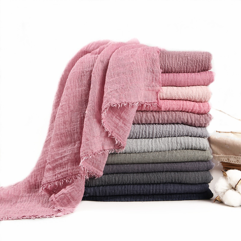 Classic Vintage Solid Color Cotton Linen Scarves Women Spring Fall Thin Long Scarf Female Fashion Ca