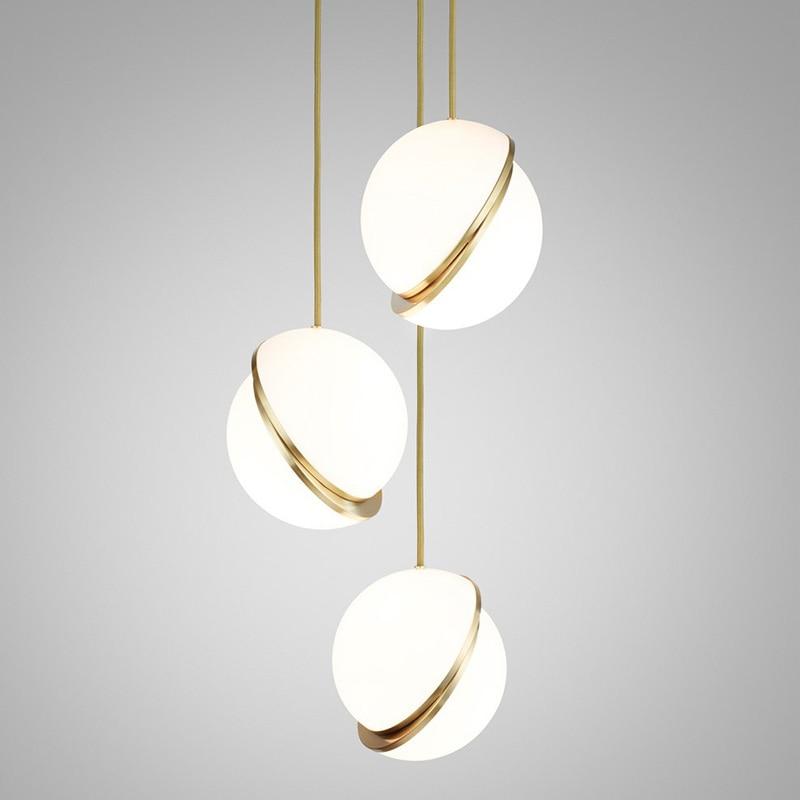 مصباح معلق برأس واحد على الطراز الاسكندنافي ، مع حامل على شكل هلال ، أكريليك ، شبه كروي ، مصباح بجانب السرير ، لتخزين الملابس ، المتجر