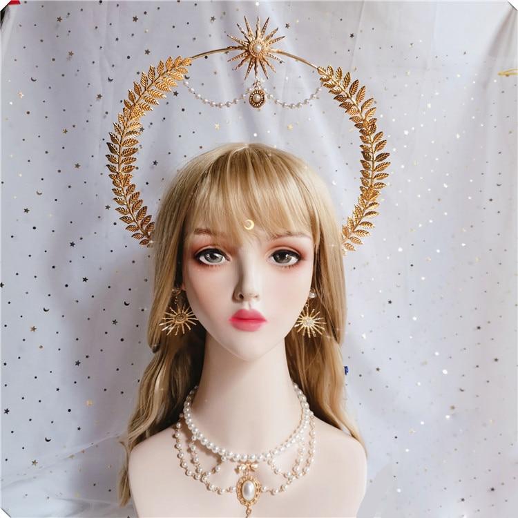 Diadema de la diosa del sol, corona KC, antigüedad, Notre Dame, Apollo, sol, Halo, iglesia, Ángel Hanfu, adorno de pelo dorado, accesorios de Lolita