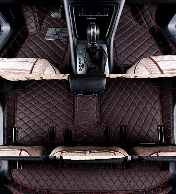 ¡Buena calidad! Alfombrillas de suelo de coche especiales personalizadas para Toyota Sequoia 2018-2008 7 asientos resistentes al agua alfombras de coche, envío gratis