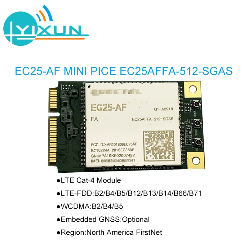 EC25-AF EC25 EC25AFFA-512-SGAS Mini Pcie B2/B4/B5/B12/B13/B14/B66/B71 4G FDD-LTE/TDD-LTD CAT4 módulo para América del Norte FirstNet