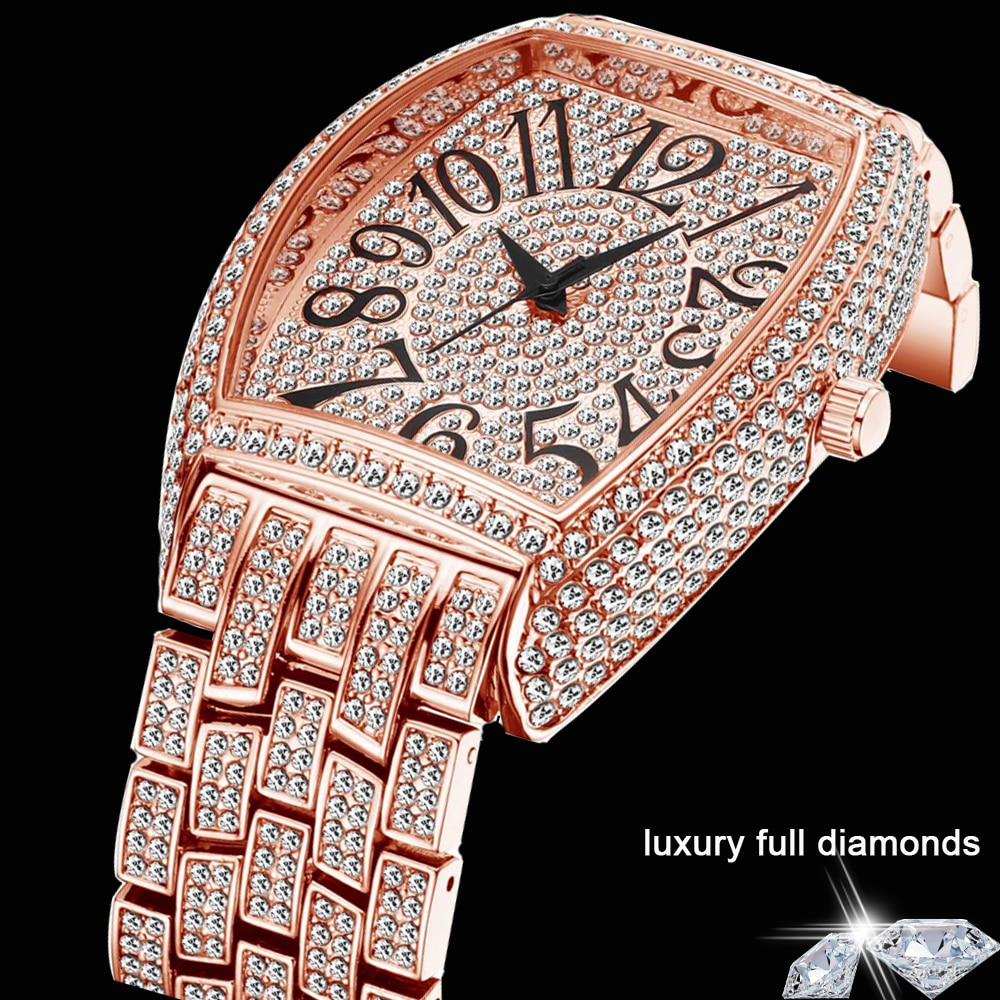 Dropshipping 2021 Full Diamond Watch for Men Hip Hop Iced Out Women Watches Rose Gold Quartz Mens Wristwatches Relogio Masculino