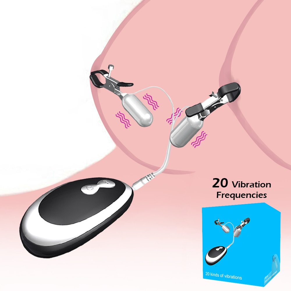 20 Frequency Nipple Vibrator Vibrating Nipple Clamps Clitoral Clip Breast Massage Clitoral Stimulation Female Sex Toys for Women недорого