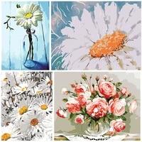 Peinture acrylique par numeros de fleurs sur toile  bricolage  cadeau peint a la main  decoration de maison  Art mural peinture par numero tableau peintures par numero et pinceaux peinture numero sur toile dessin