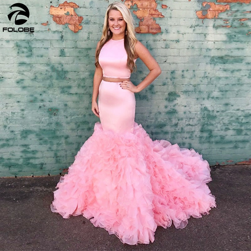 Two Pieces  Pink Prom Dresses Mermaid O Neck Sleeveless Ruffles Organza Formal Evening Gowns Black Girls Party Vestidos