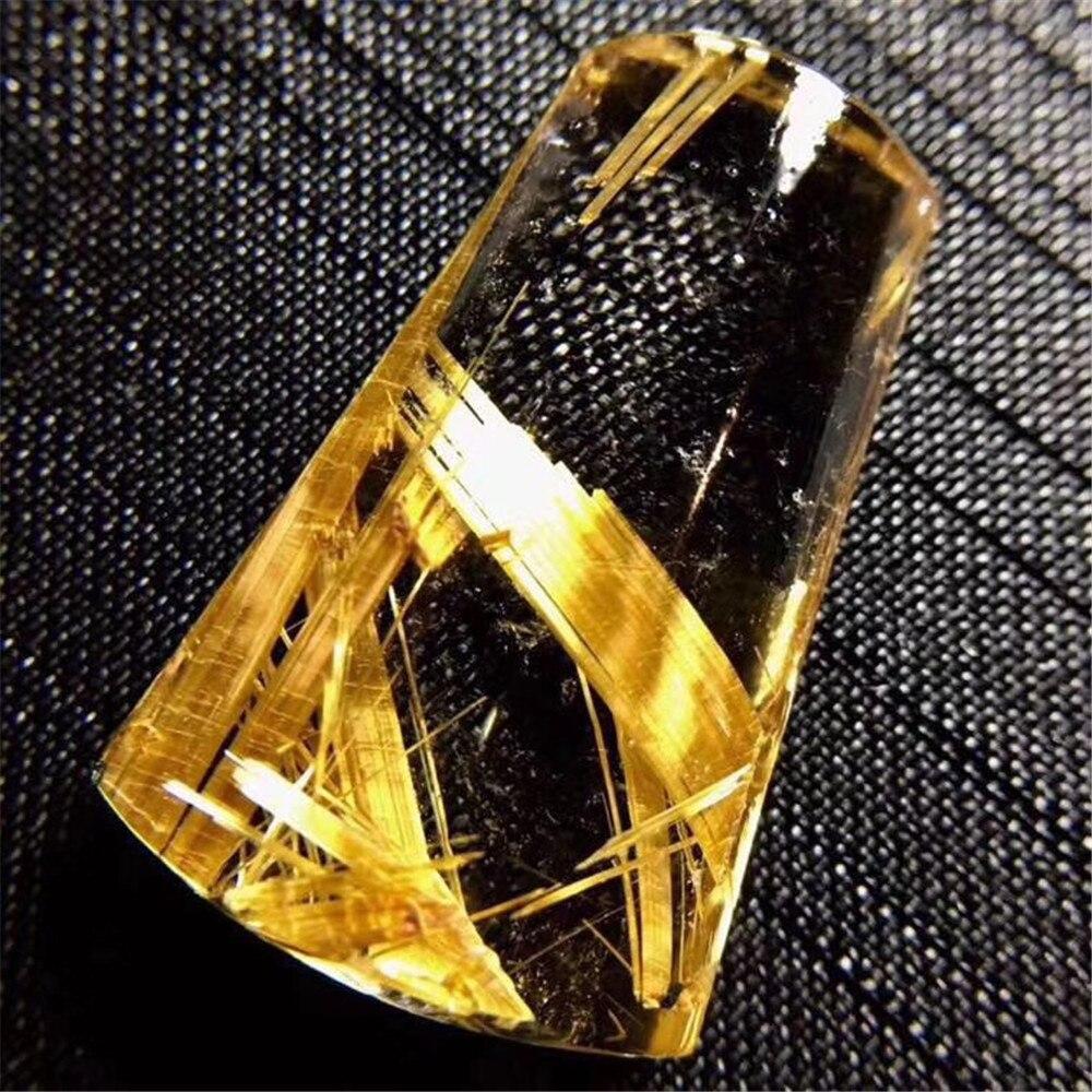 Colgante de Cuarzo rutilado de Oro natural superior para mujer, cristal transparente para hombre 27x17x8mm, cuentas de piedras preciosas, joyería de moda, certificado AAAAA