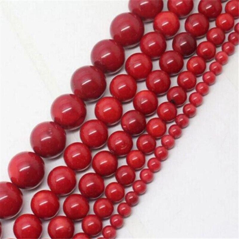 Красные коралловые бусины из камня Natura 2-8 мм круглые бусины diy Ювелирные изделия свободные бусины для дизайна различные стили ожерелье брас...