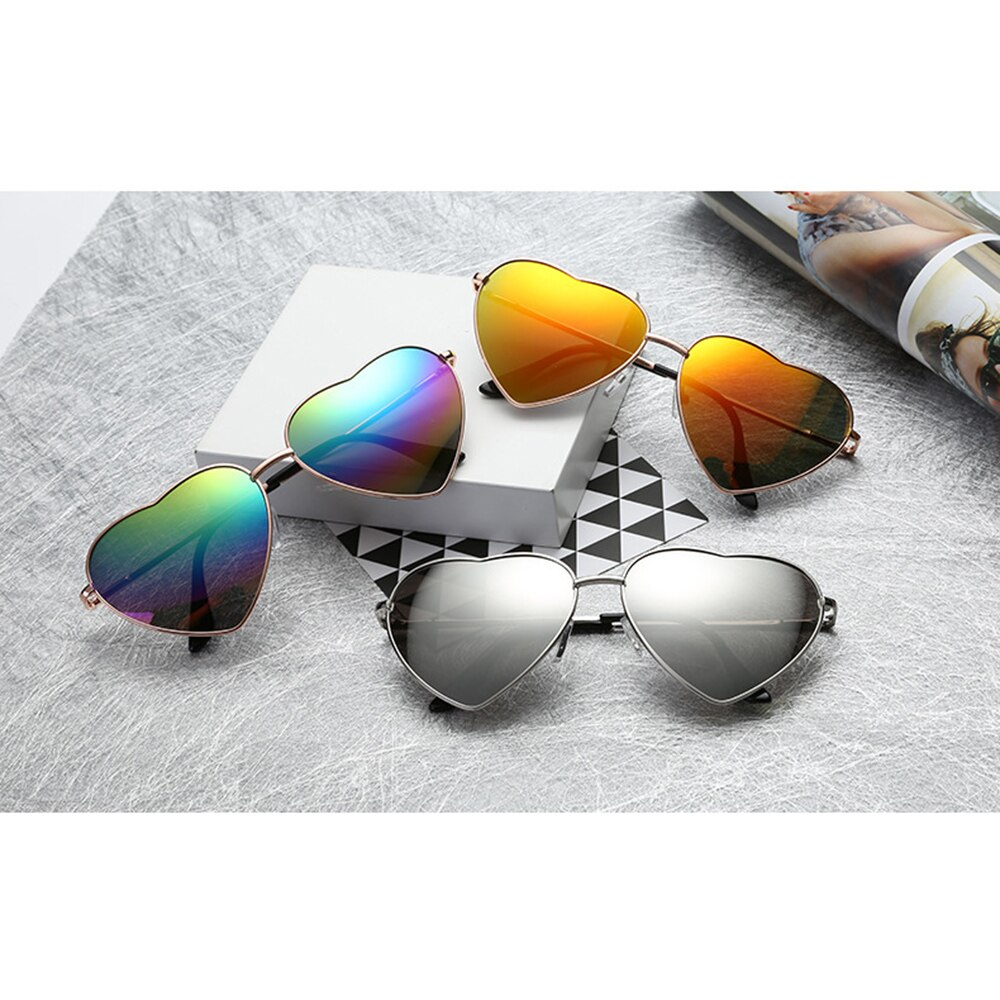 Ladies Heart Shaped Sunglasses Metal Women Fashion LOVE  Colorful Lenses Sun GlassesUV400 Men Women