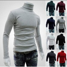 2021 New Autumn Winter Men'S sweater Men's Turtleneck Solid Color Casual Sweater Men's Slim Fit Bran