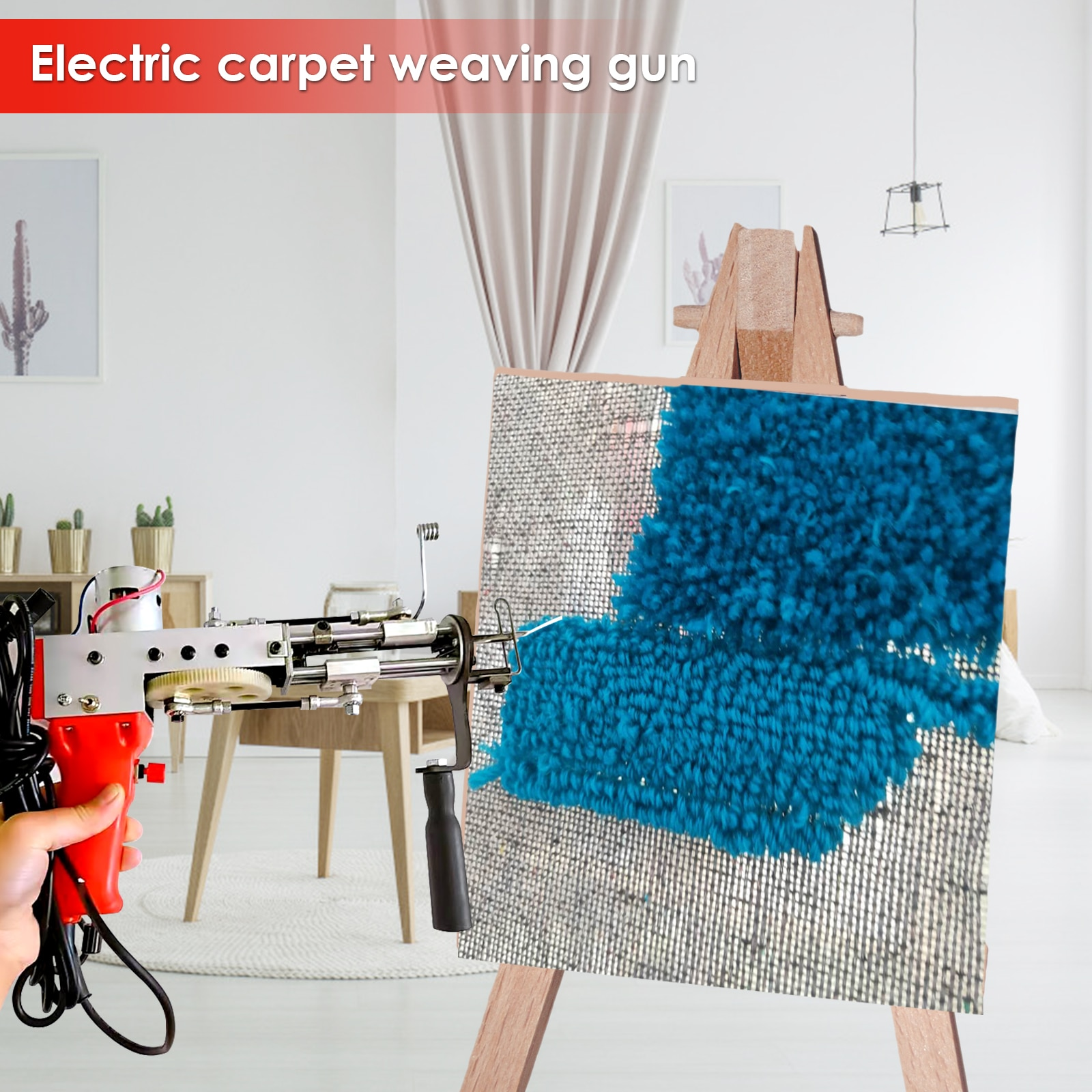 All-aluminum Heavy-duty Red Electric Carpet Tufting Gun Flocking Machine Industrial Embroidery Machine Cut Pile Knitting Machine enlarge