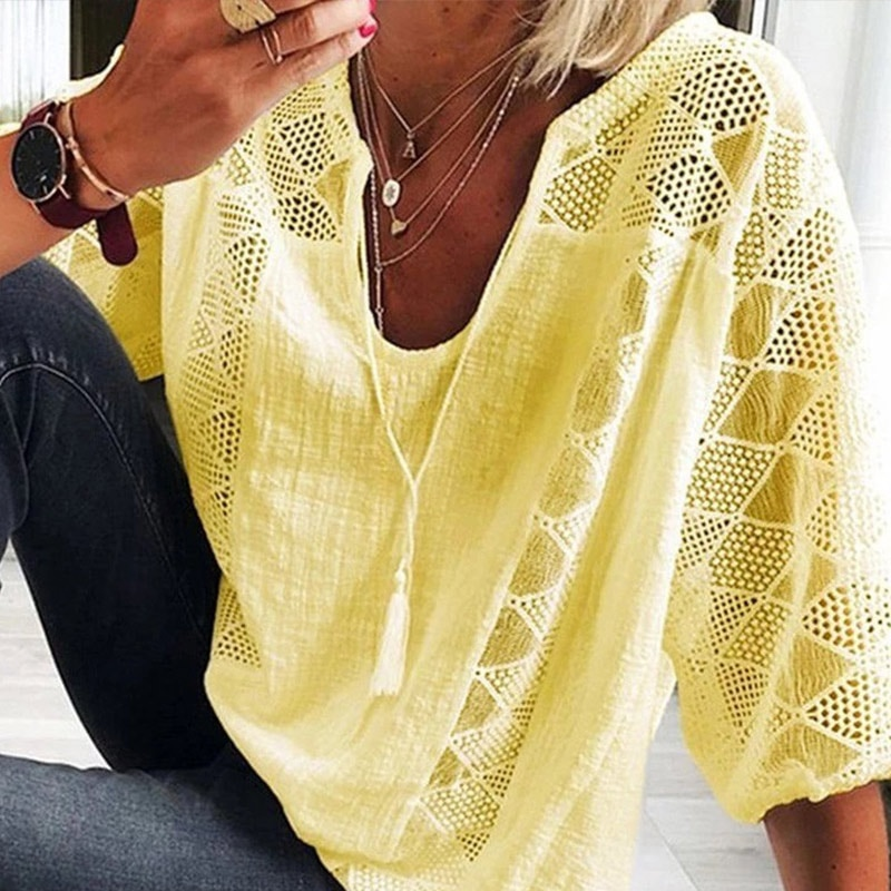 Cotton Linen V-neck Women's Blouses 3/4 Sleeve Lace Patchwork Tassel Female Blouse 2020 Summer Hollow Out Comfortable Lady Top