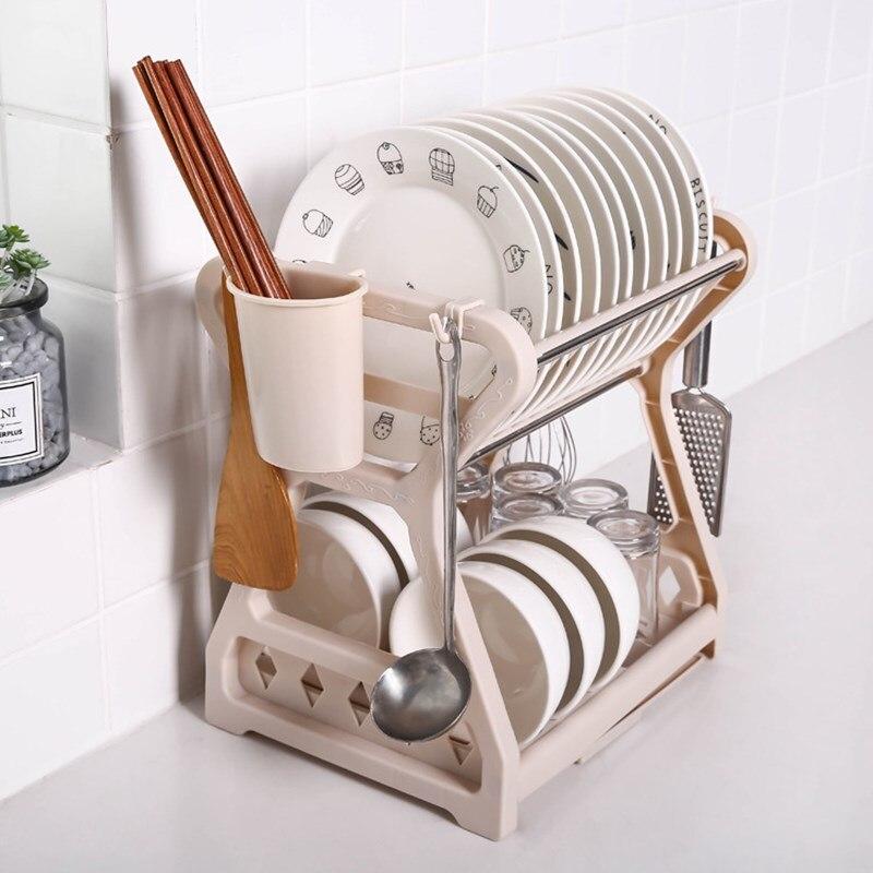 رف تجفيف الأطباق ، منظم تخزين المطبخ ، رف وعاء مزدوج ، خزانة بلاستيكية ، حامل أدوات المائدة