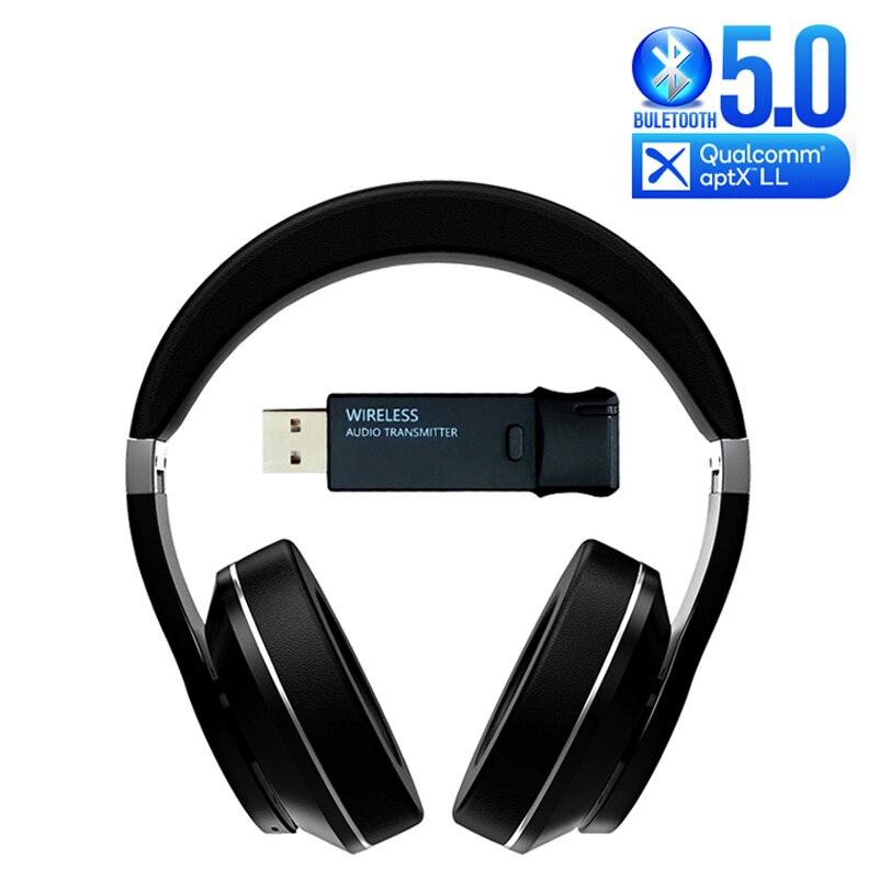 Auriculares Bluetooth + TRANSMISOR USB para TV PS4 PC 40MS aptX Audio de baja latencia decodificación auricular inalámbrico sobre la oreja auriculares de juego