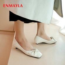 ENMAYLA 2020 Genuine Leather Casual Round Toe Slip-On Wedding Shoes Basic Thin Heels  Sweet Butterfl
