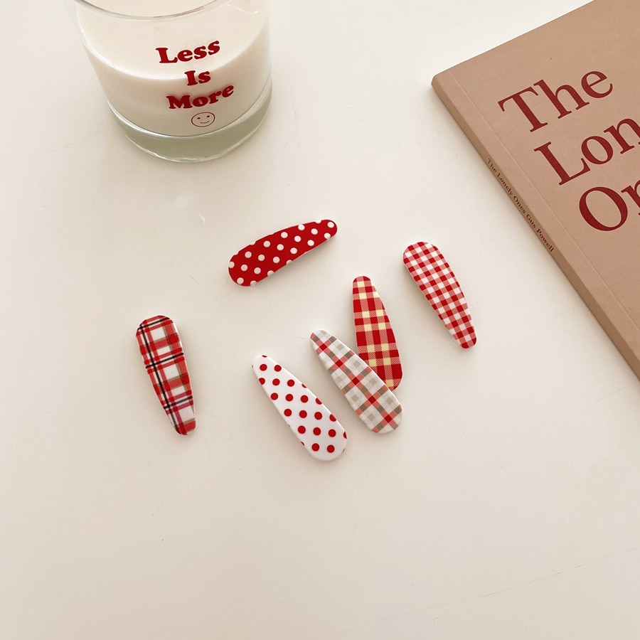 6PCS Cherry Red Lovely Red Polka-Dot Checked Hairpin BB Clip Soft Sister Bangs Hair Accessories