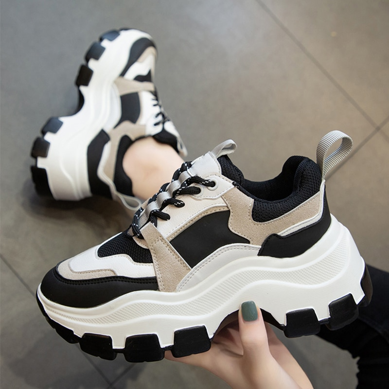 Women's Chunky Sneakers Thick Bottom Platform Vulcanize Shoes Fashion Breathable Casual Running Shoe for Woman Female 2021