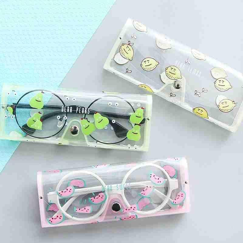 1 Pcs Creative Transparent PVC Glasses Case Girl Cartoon Cute Travel Portable Eye Case Glasses Accessories