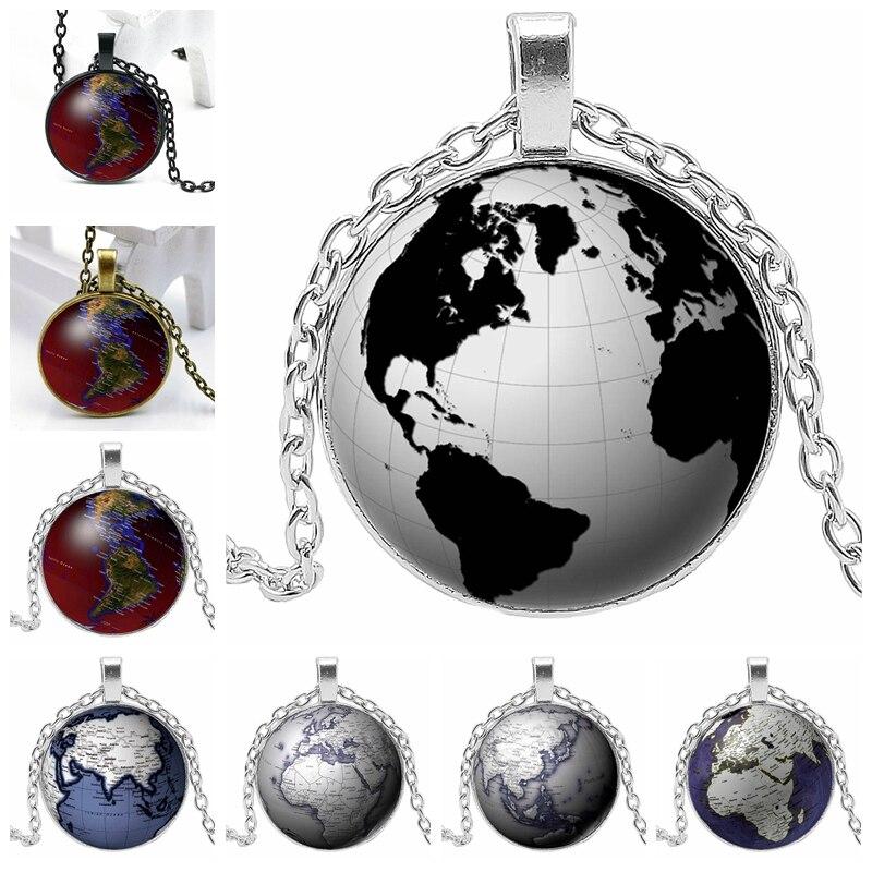 2020 novo globo 3 cor colar de vidro convexo redondo personalidade distintivo pingente colar presente atacado