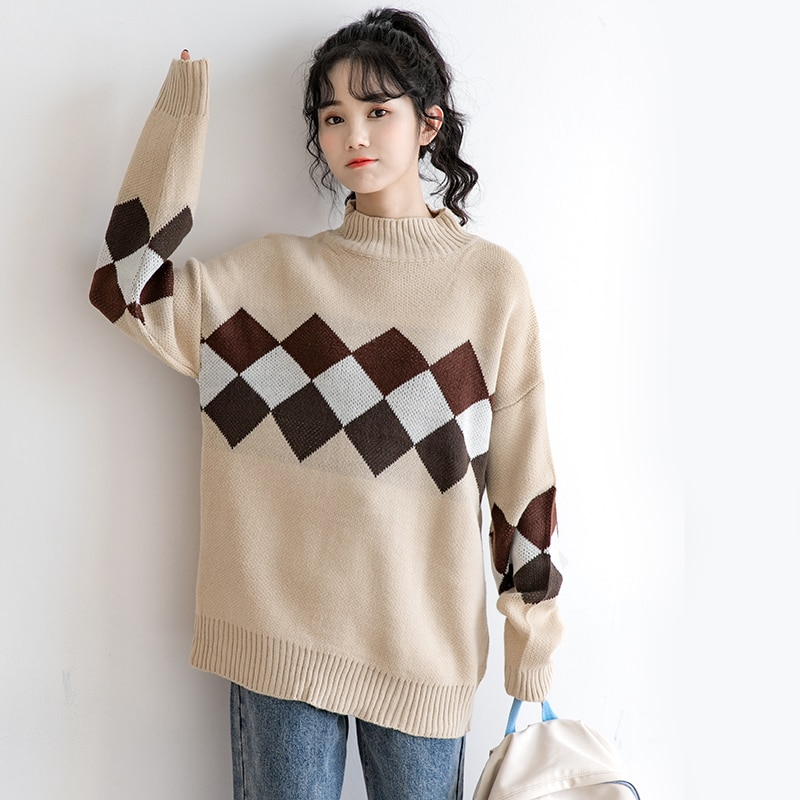 2020 New Diamond Plaid Turtleneck Sweater Women's Winter Thickened Outer Wear Lazy Style Long Sleeve