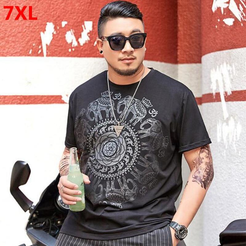 Летняя мужская одежда размера плюс, Мужская футболка большого размера, свободная черная Повседневная летняя футболка с принтом слона, коро...