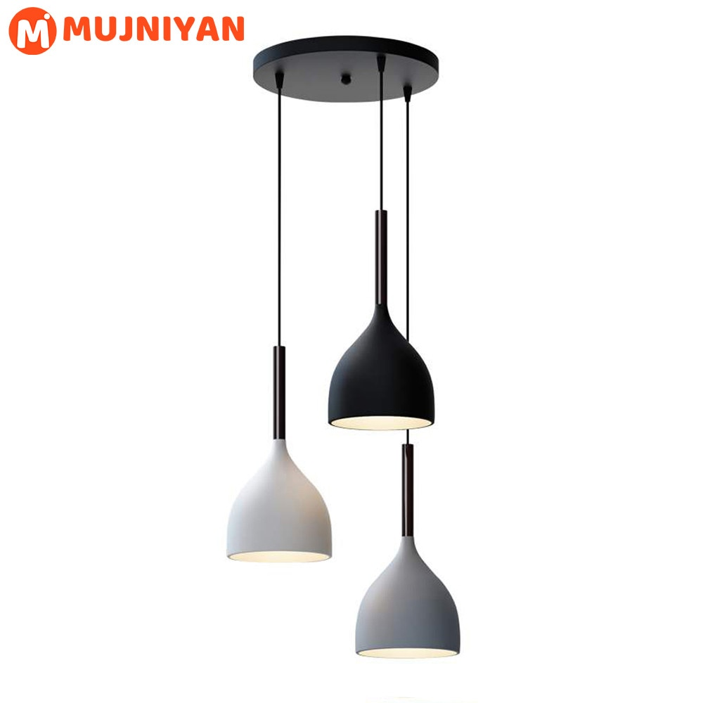 Modern LED Pendant Lights Nordic Minimalist E27 Solid Wood Hanging Lamps Kitchen Restaurant Lighting Fixtures
