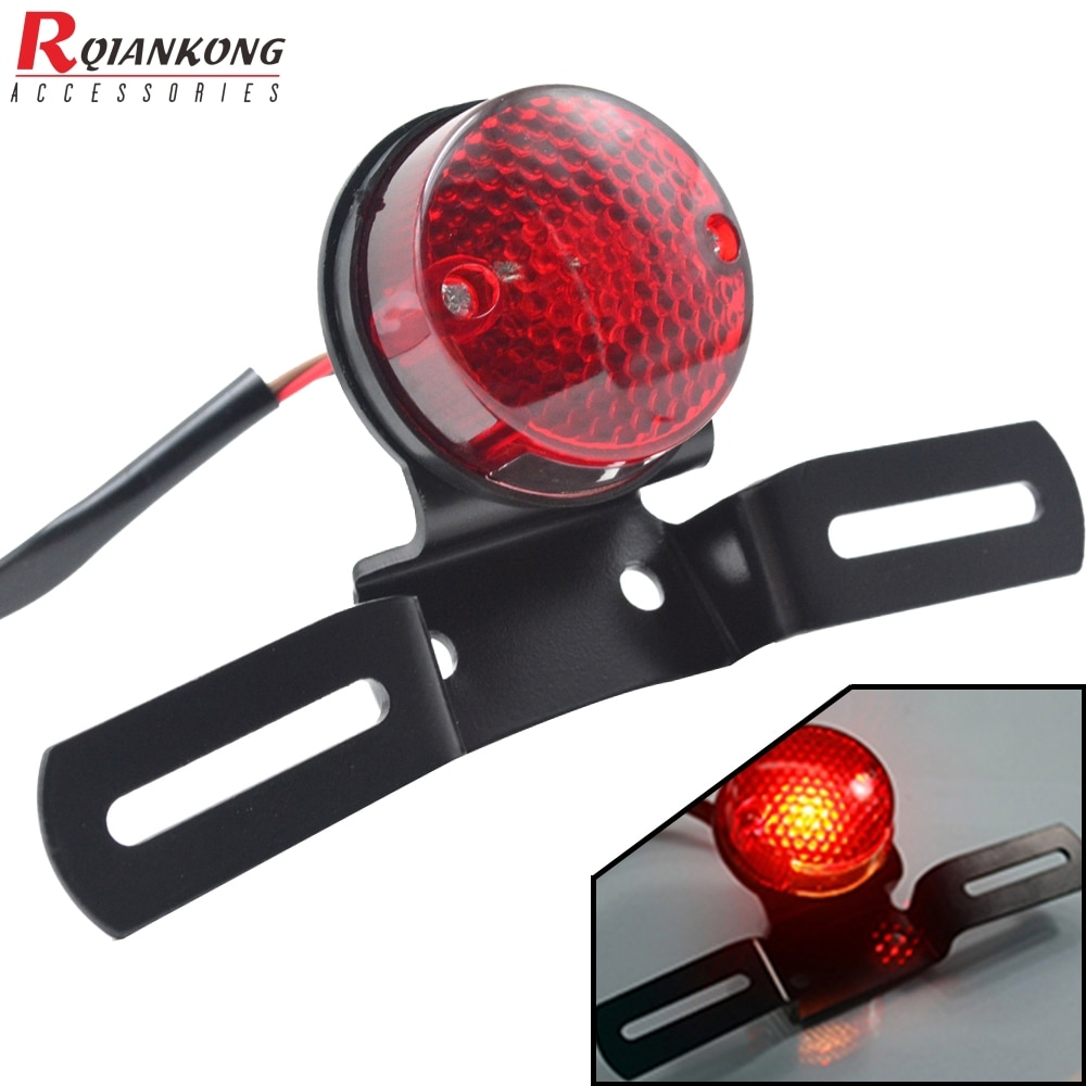 Bombilla trasera de freno rojo para motocicleta para Chopper Bobber, luces de freno LED personalizadas para motocicleta