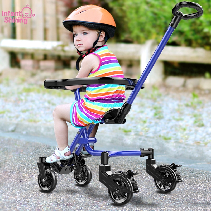 Infant Shining Baby Stroller Ride on Bike ultra-lightweight folding 2-6Y Children Trolley Four-Wheel Anti-Fall Baby Trolley