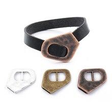 5 pièces argent tibétain/marron/cuivre brin boucle fermoir crochet pour 10mm cordon en cuir plat Bracelets faits à la main fabrication de bijoux