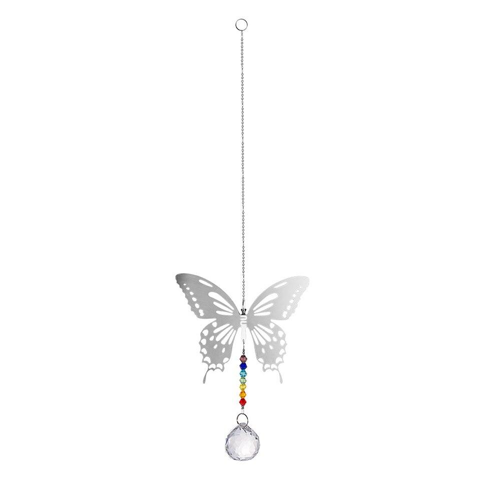 Colgante de cristal decorativo con forma de mariposa para ventanas, atrapadores de Sol para interior, regalo, artesanía arcoíris, colgante para exteriores, prismas para el hogar
