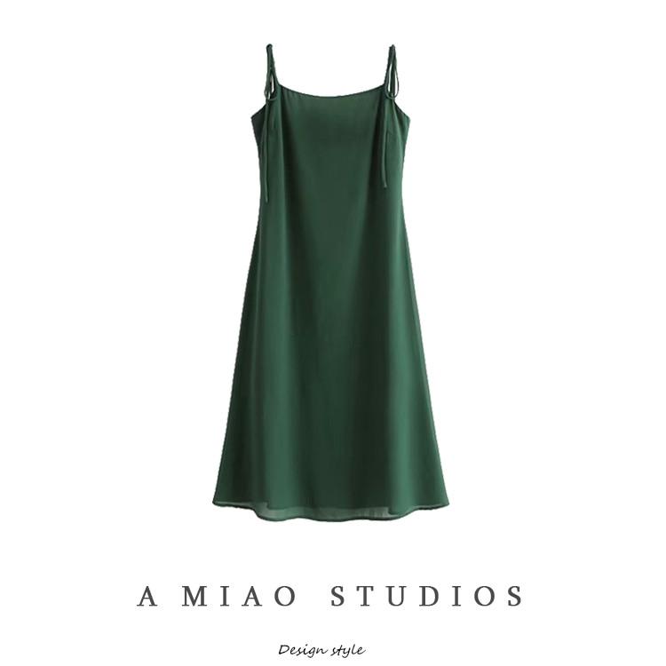 Summer New Women's Travel Holiday Style Temperament Goddess Style Long Dress Retro Dark Green Lace-u