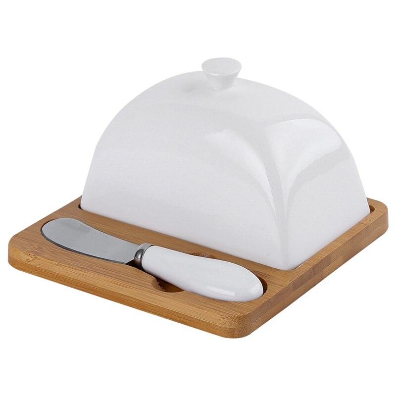 Prato de Manteiga de Madeira Cerâmica com Faca Utensílios de Mesa Quadrado Cobertura Alça Porcelana Queijo Placa Sobremesa Pan Manteiga Keeper &