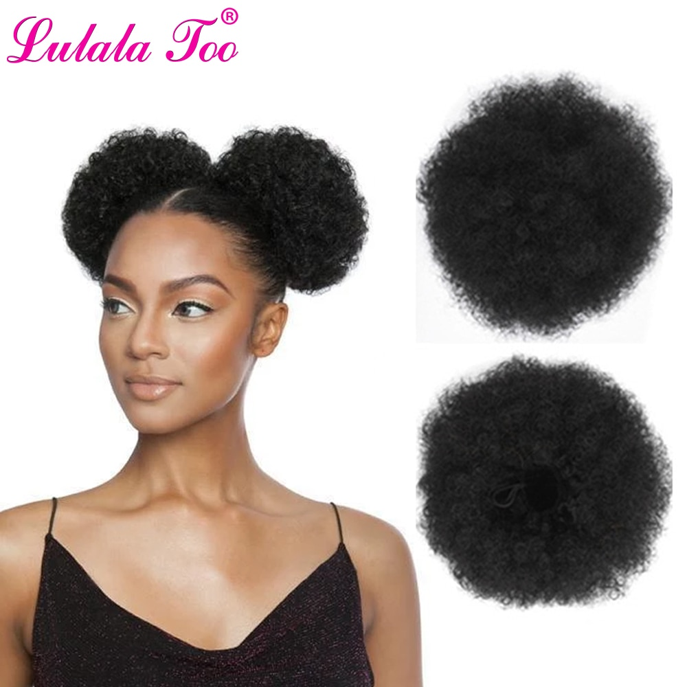 6inch Short Afro Puff Hair Bun Drawstring Ponytail Wig Kinky Curly Synthetic Clip in Extensions Chignon Hairpiece Can Buy 2Pcs