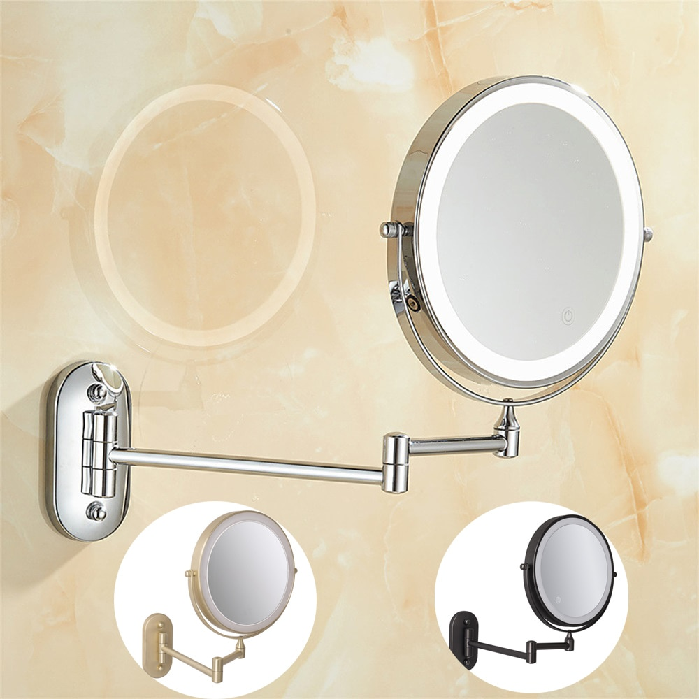 bathroom mirror antique red copper double side make up mirror dressing room round magnifying cosmetic mirror wall mounted nba631 8 inch Bedroom or Bathroom Wall Mounted Makeup Mirror, 1X &10X Magnifying Double  Mirror, Touch Button Adjustable LED Light