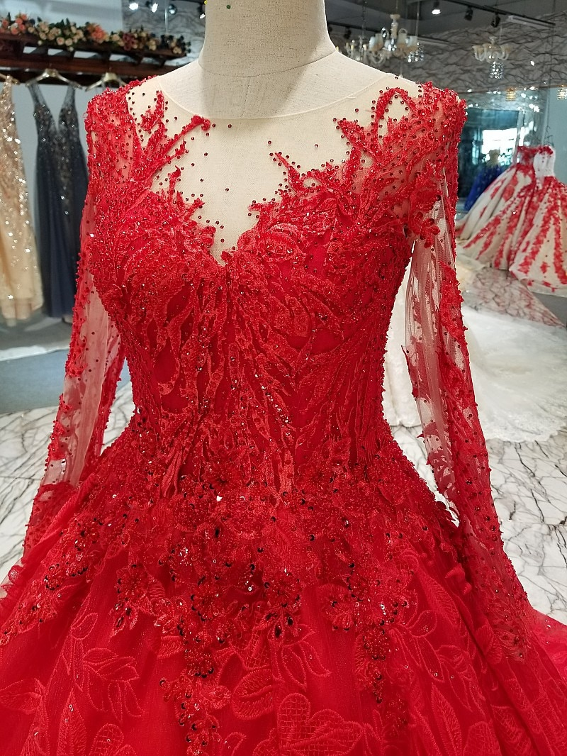 Luxurious Red Custom Hand-Made Beaded Sequins Vintage Evening Dresses Long Sleeves Vestido De Festa Prom Gowns 2020 Real Photos